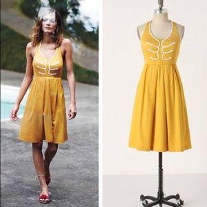 Anthropologie Floreat Yellow Lace Halter Dress